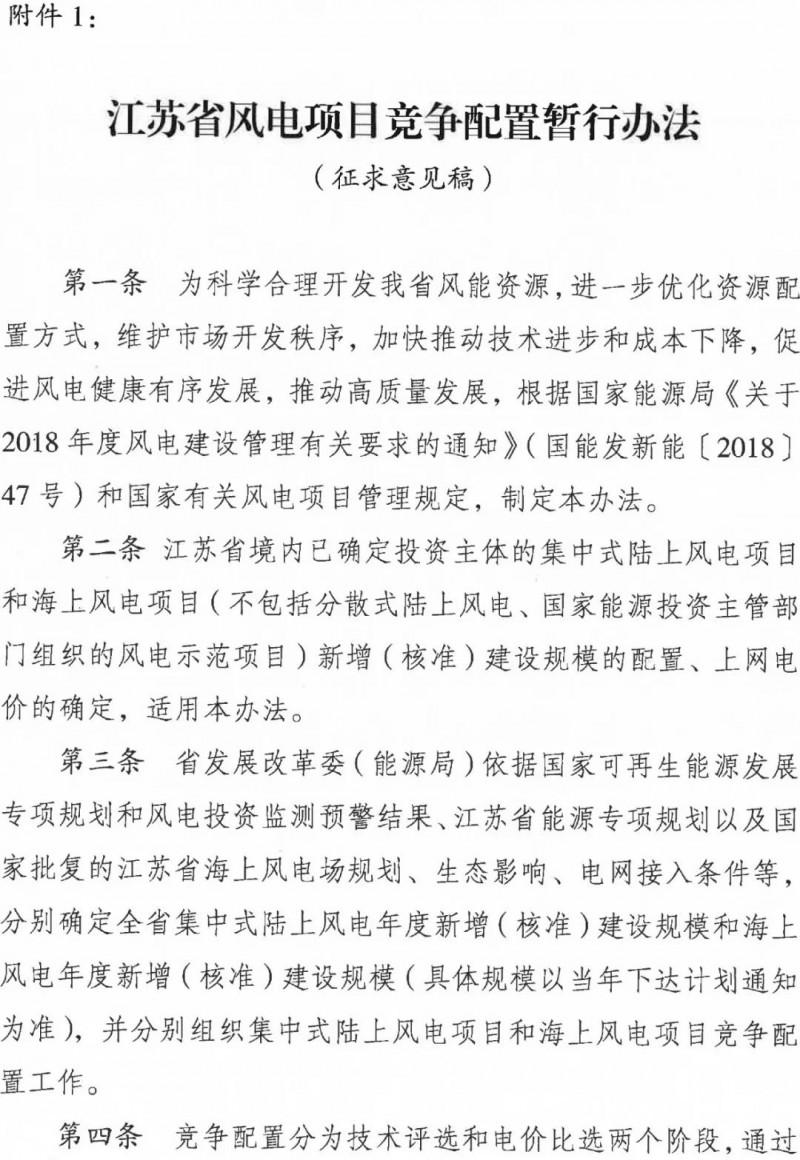 今日头条丨江苏省风电项目竞争配置暂行办法发布!