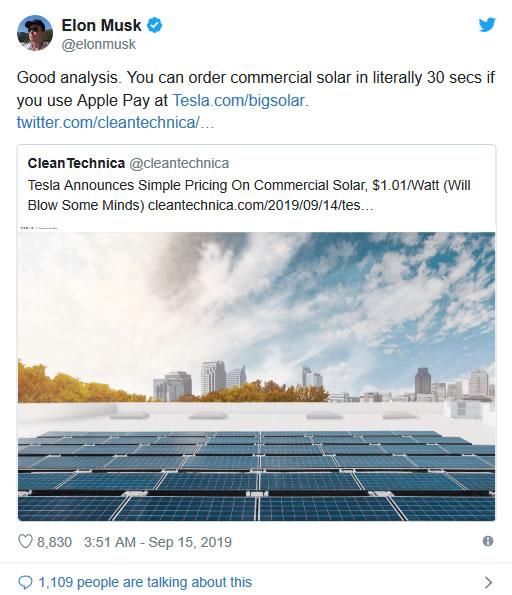 特斯拉简化商用太阳能业务ApplePay30秒可完成交易